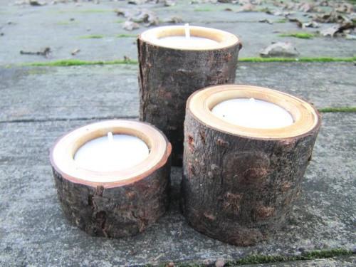 أعمال يدوية بالخشب - شمعدان خشبي