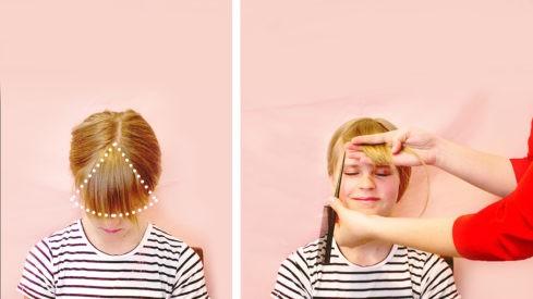 طريقة قص الغرة للأطفال-تقسيم الشعر
