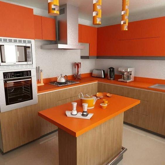 بالصور ديكورات للمطبخ باللون البرتقالي-مساحة المطبخ