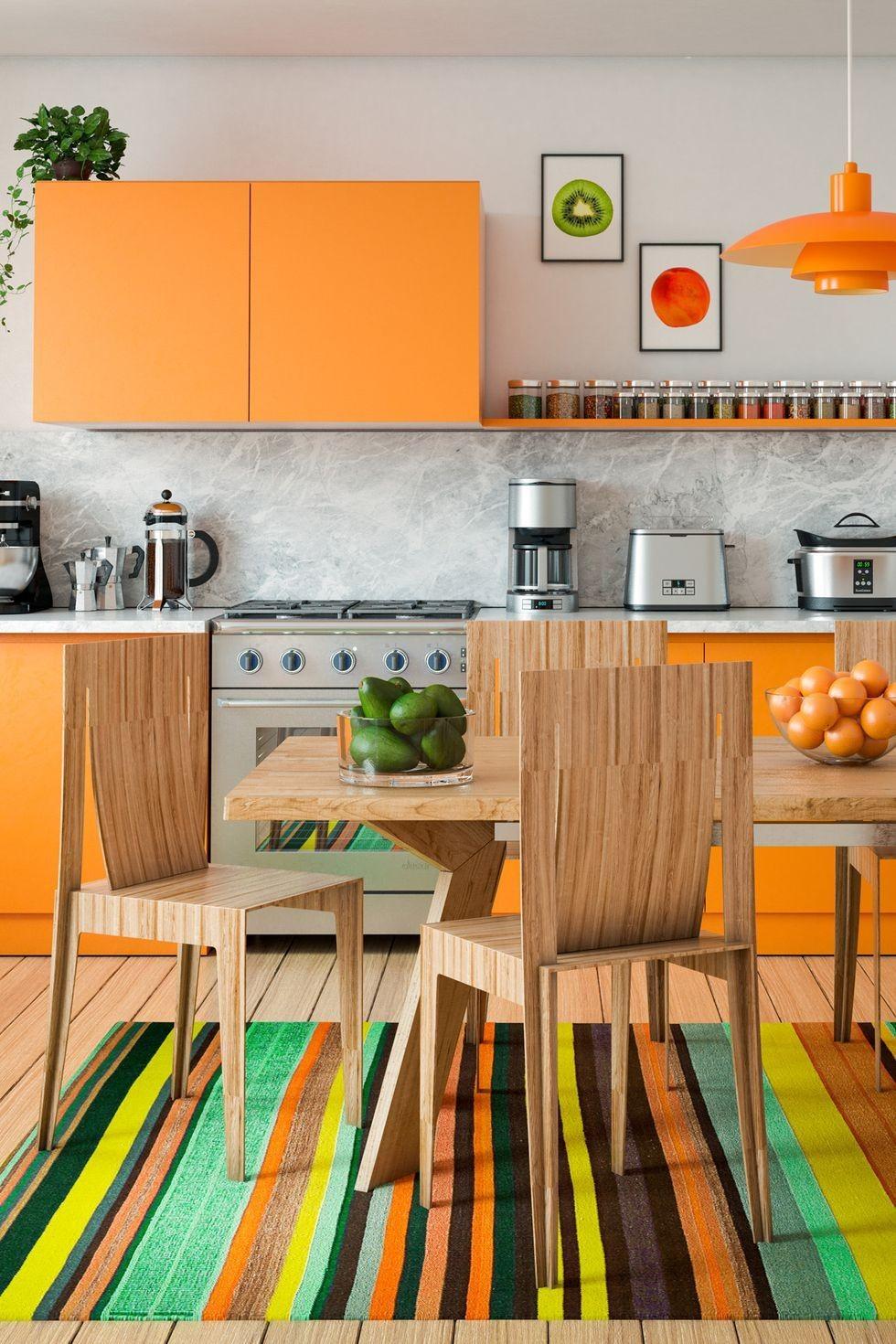 بالصور ديكورات للمطبخ باللون البرتقالي-وحدات وحوائط المطبخ