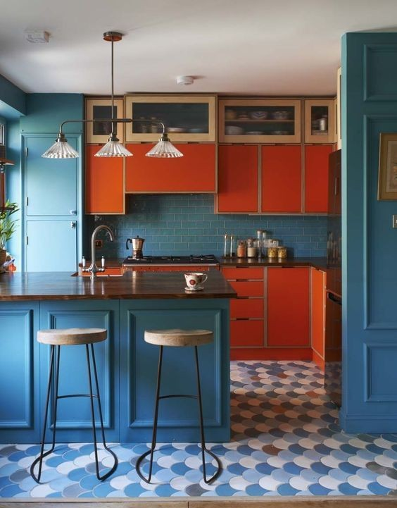 بالصور ديكورات للمطبخ باللون البرتقالي-المطبخ المودرن