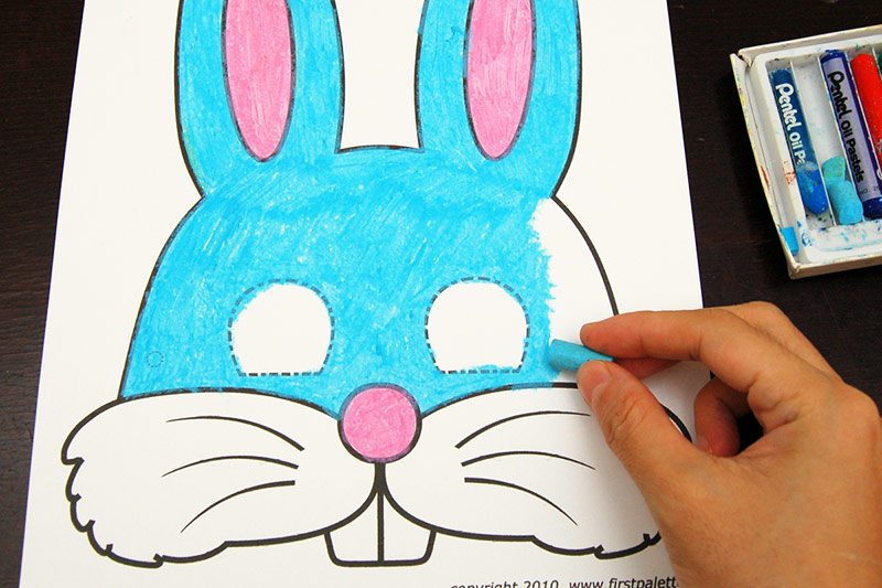 كيفية صنع قناع أرنب بالورق-التلوين