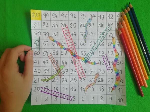 طريقة عمل لعبة السلم والثعبان للأطفال-التلوين