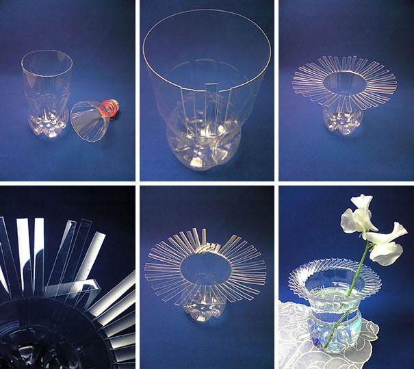 7 أفكار بسيطة لإعادة استخدام الزجاجات الفارغة-مزهرية