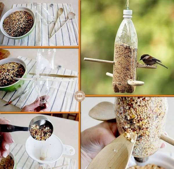 7 أفكار بسيطة لاعادة تدوير الزجاجات الفارغة-طعام الطيور