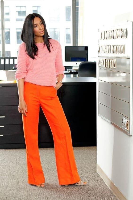 تنسيق اللون البرتقالي في الملابس-عصري كاجوال