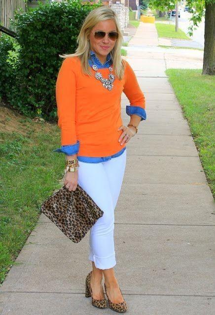 تنسيق اللون البرتقالي في الملابس-الإكسسوارات نقشة النمر