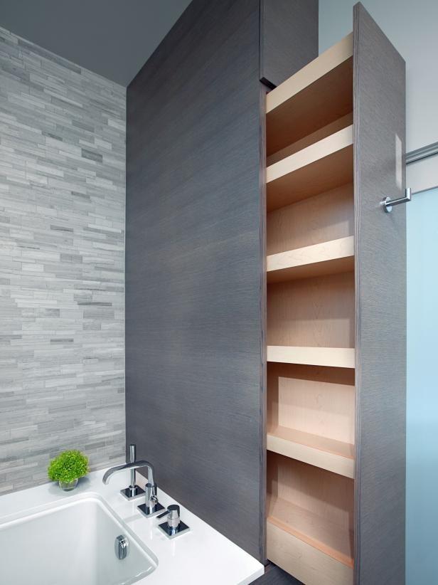 أشكال مختلفة لدولاب الحمام-دولاب طولي جانبي
