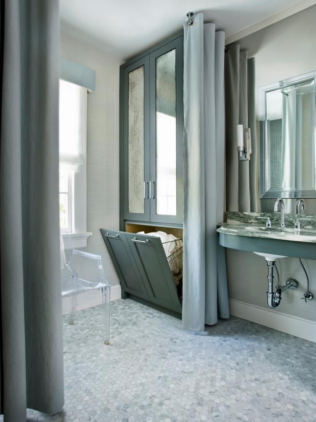 أشكال مختلفة لدولاب الحمام- دولاب مدمج بمراية