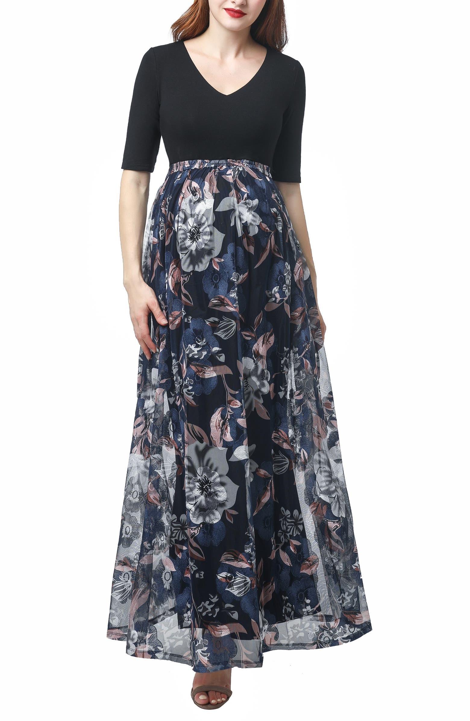 فستان للحوامل مناسب للسهرة-منقوش وألوان