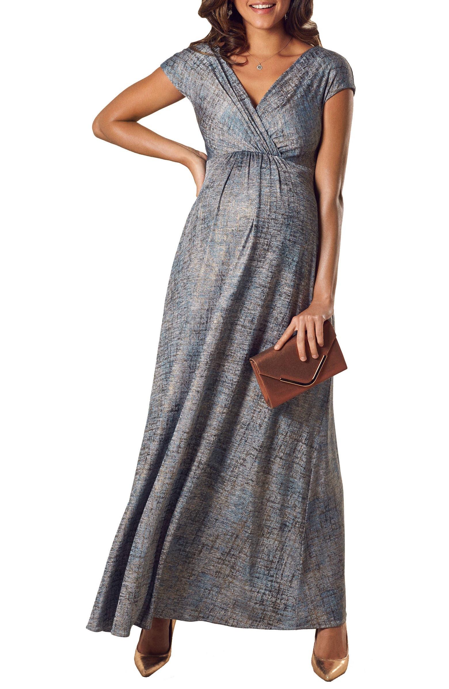 فستان للحوامل مناسب للسهرة-منقوش وألوان2