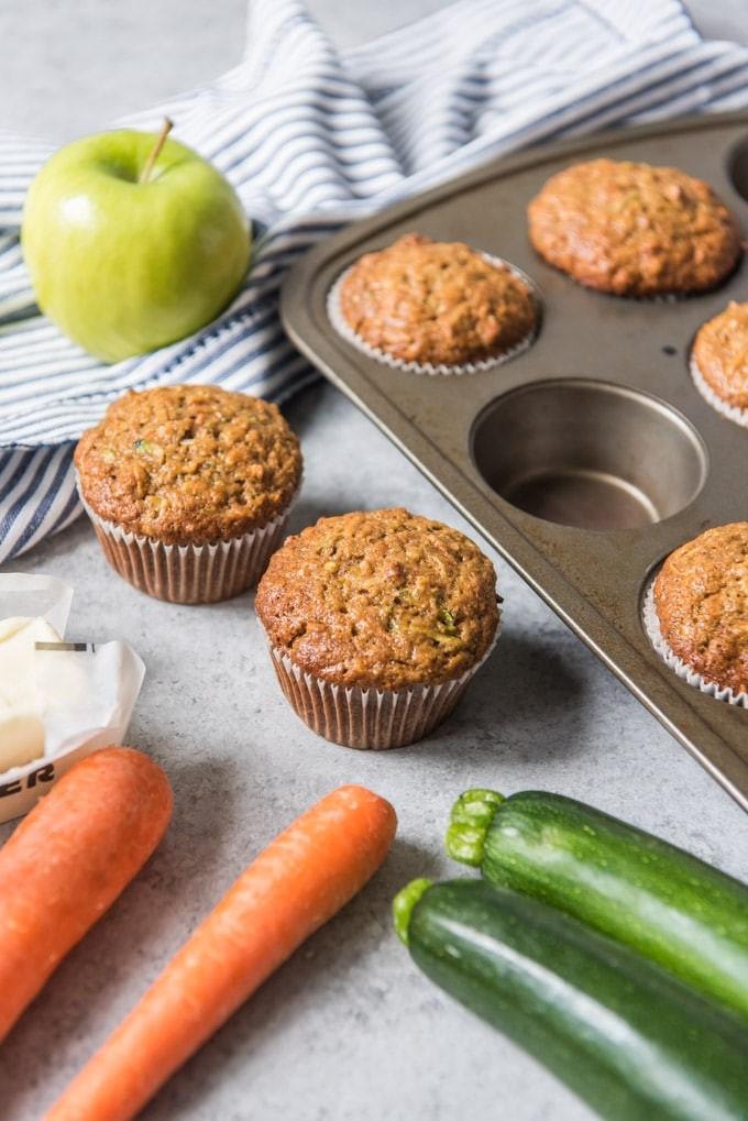 أكلات بالكوسة للأطفال - طريقة عمل مافن التفاح والكوسة