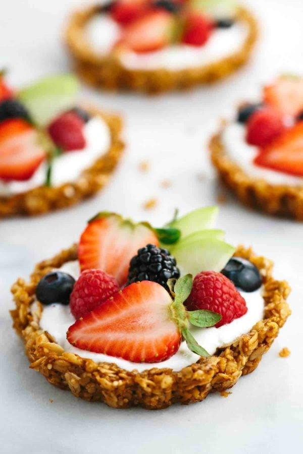حلويات بالشوفان للرجيم - طريقة عمل تارت الشوفان بالزبادي