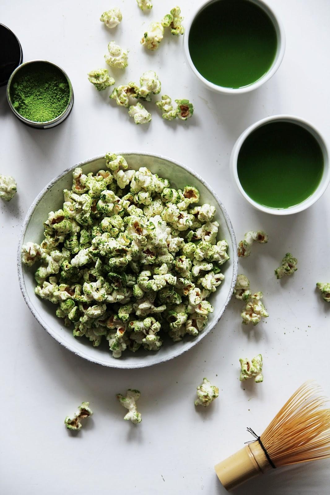 وصفات للفشار - طريقة عمل الفشار بشاي الماتشا الأخضر