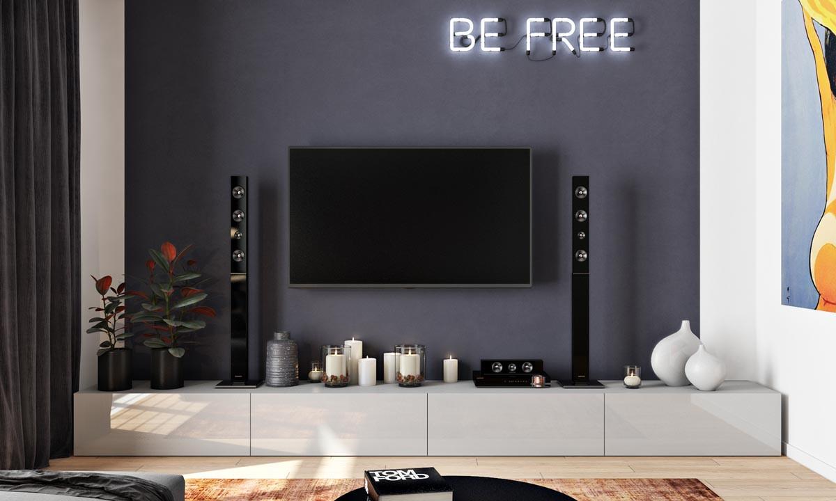 أفكار لتعليق التلفزيون في الجدار- تعليق التليفزيون في منتصف الجدار