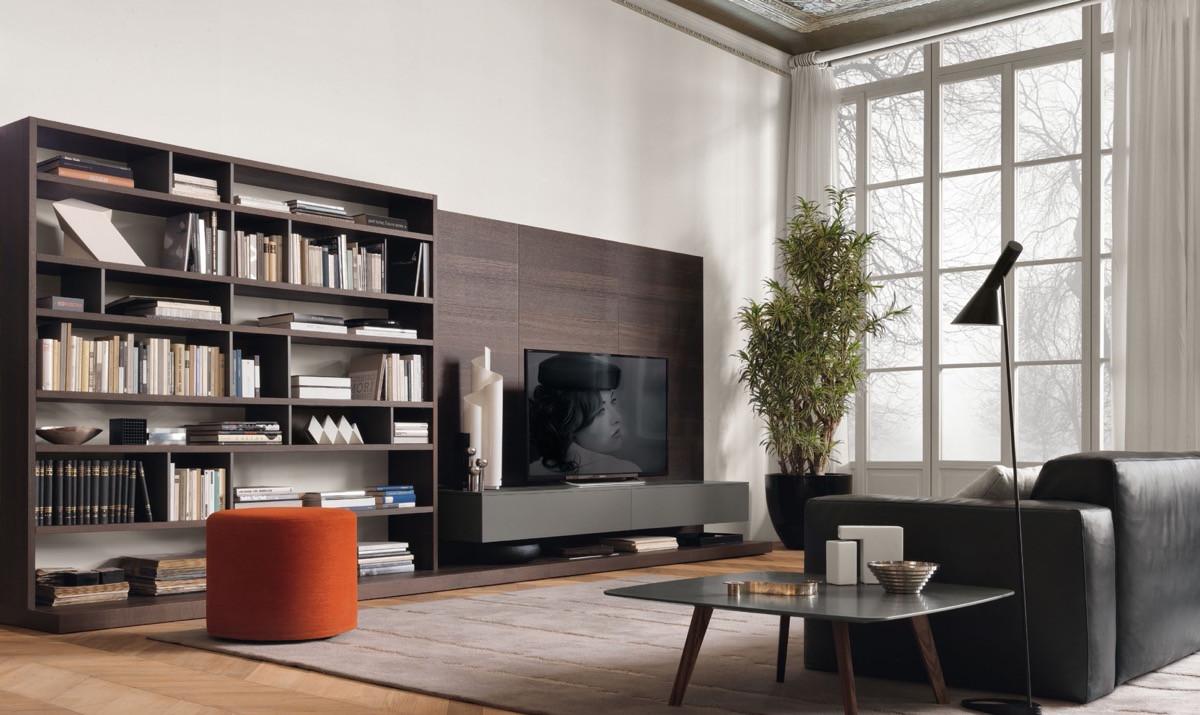 أفكار لتعليق التلفزيون في الجدار- وضع التليفزيون في المكتبة