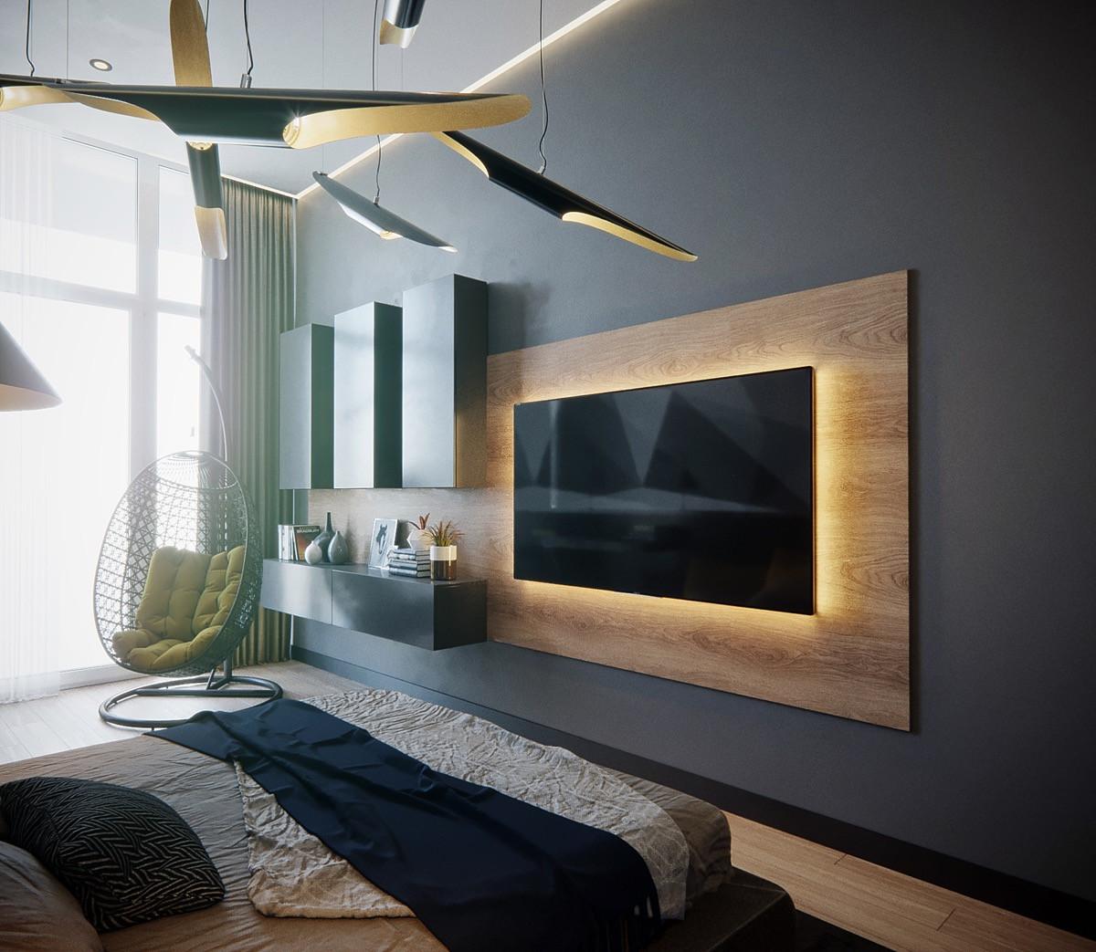 أفكار لتعليق التلفزيون في الجدار- عمل إضاءة خلف الشاشة