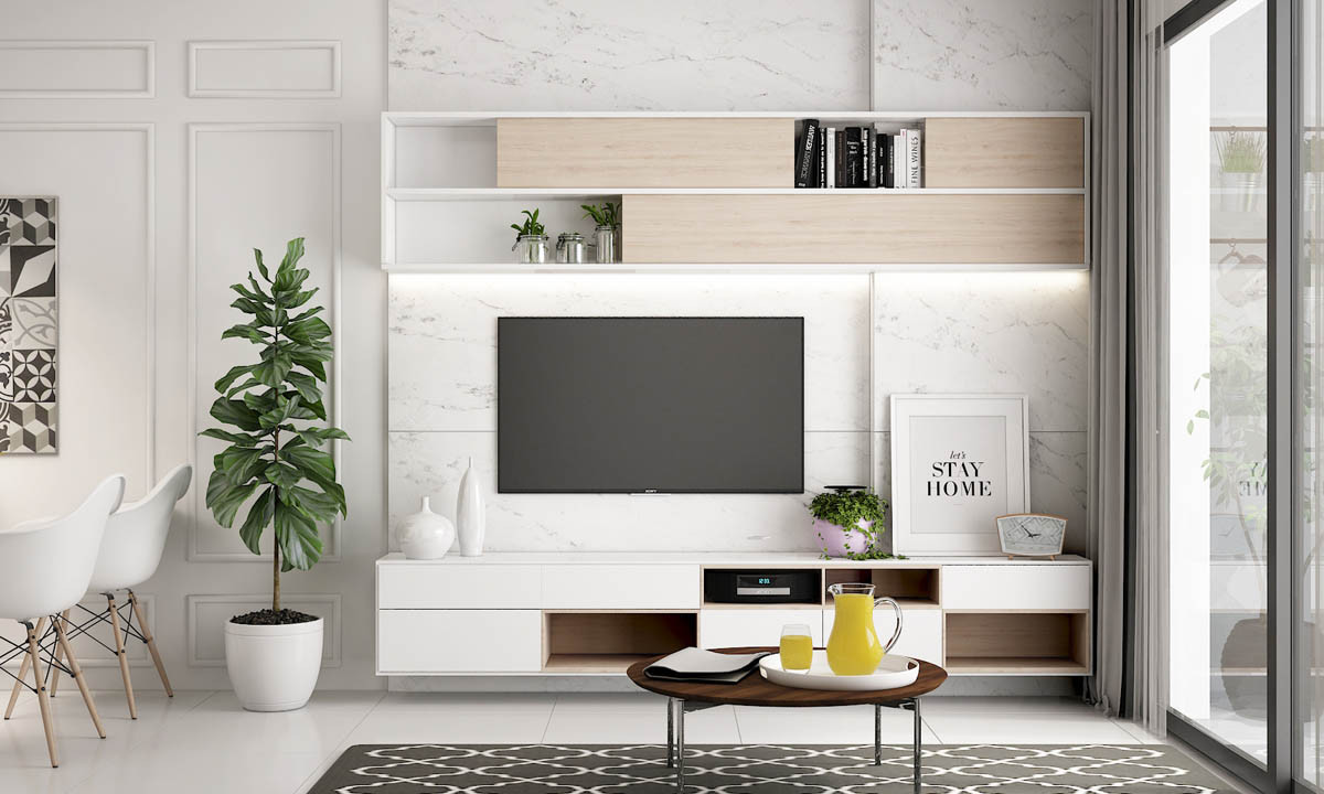 أفكار لتعليق التلفزيون في الجدار - وضع أرفف من أعلى وأسفل