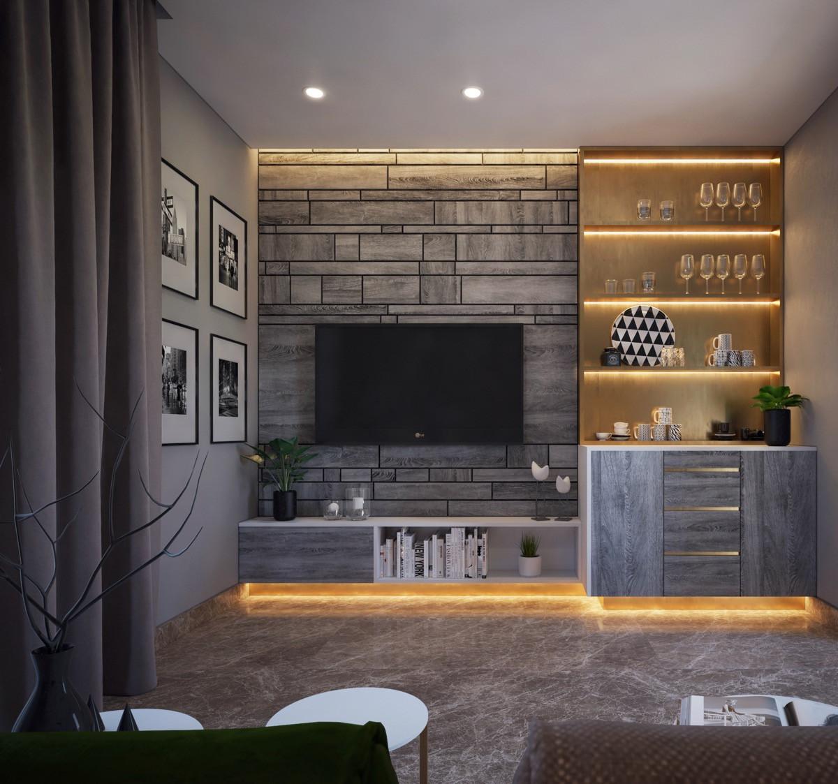 أفكار لتعليق التلفزيون في الجدار- تنسيق التلفزيون مع ركن القهوة
