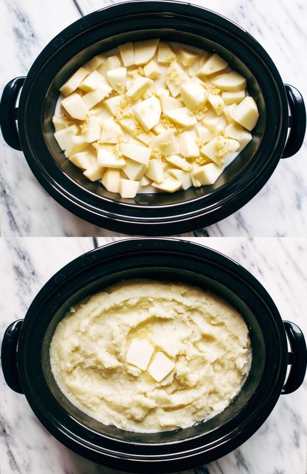 حلة الطهي البطيء - طريقة عمل بطاطس مهروسة بالثوم