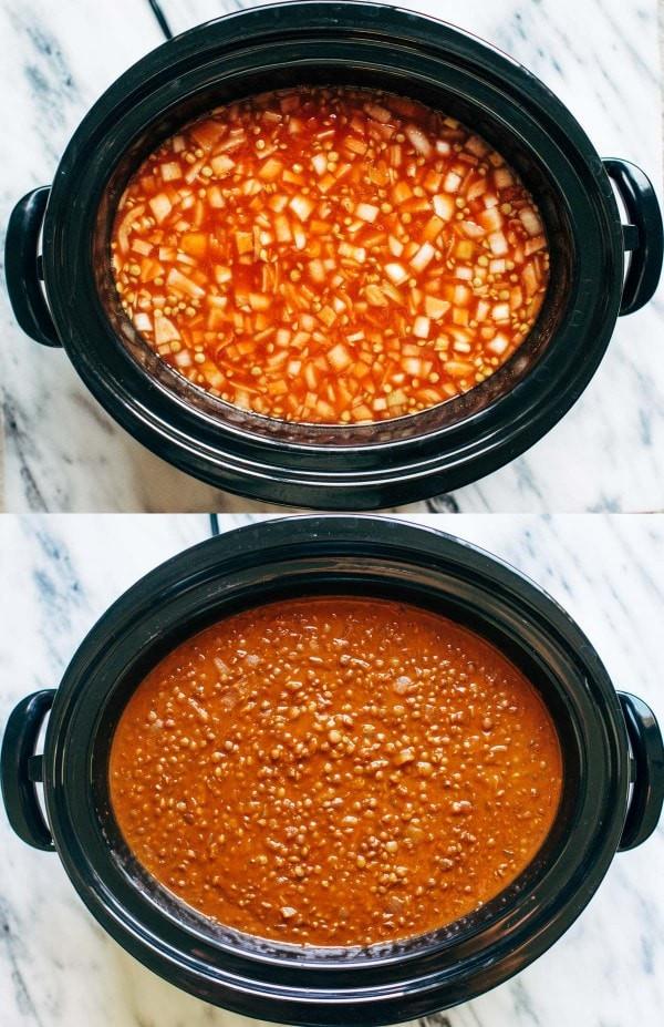 حلة الطهي البطيء - طريقة عمل العدس البني بالكاري