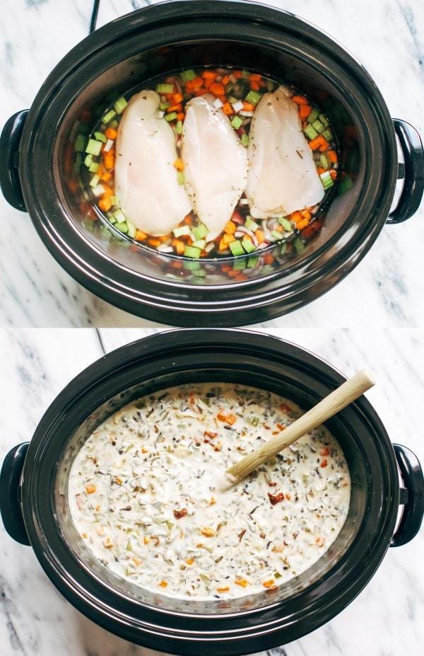 حلة الطهي البطيء - طريقة عمل حساء الأرز والدجاج