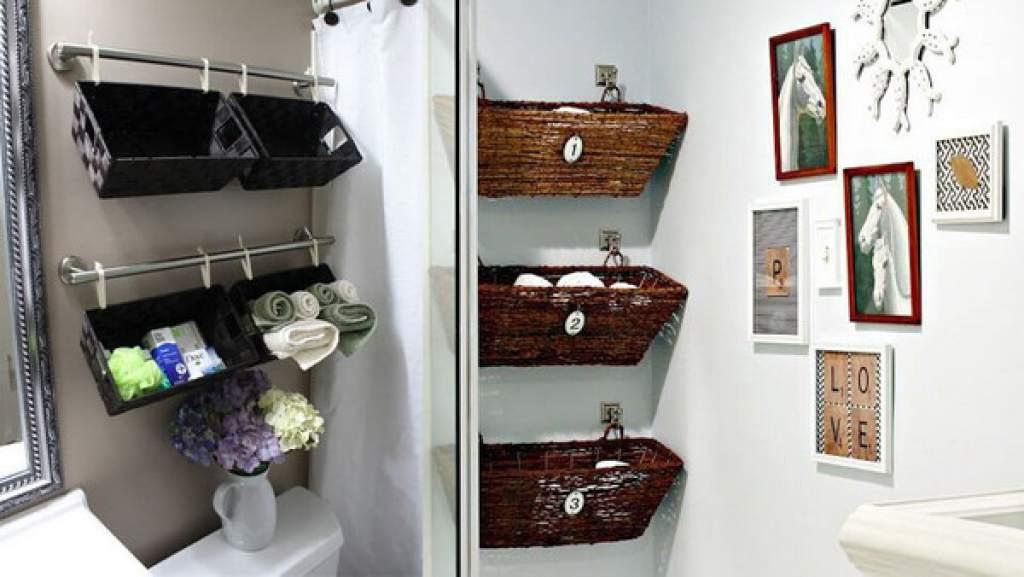 ديكورات الحوائط - السلال المعلقة على حائط الحمام
