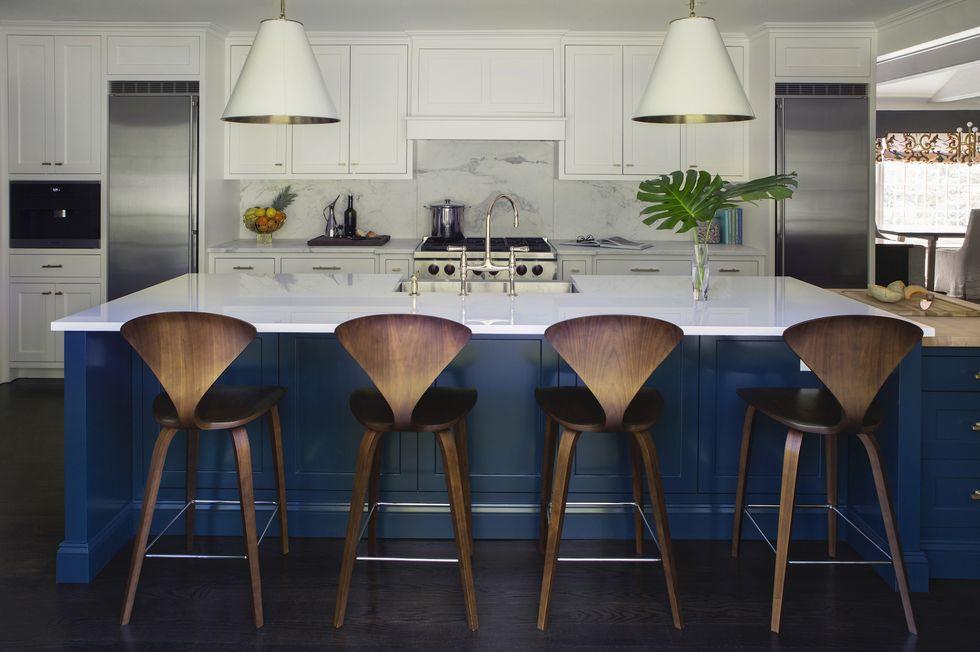 ألوان مطابخ الخشب - مطبخ أزرق زاهي