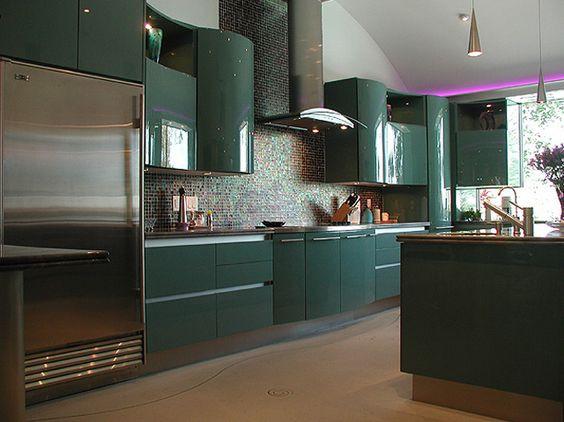 ألوان المطابخ الألوميتال 2020 - مطبخ أخضر