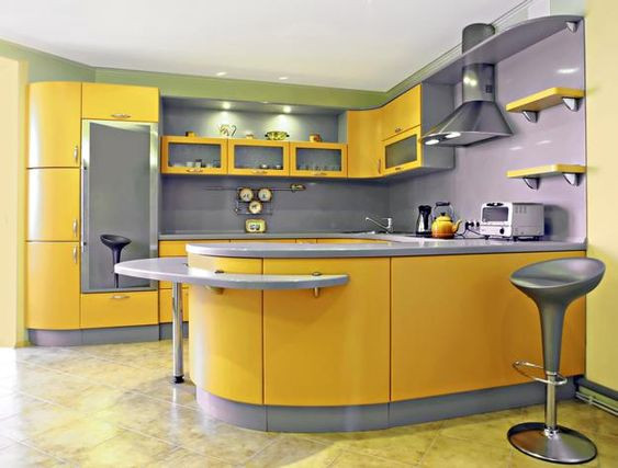 ألوان المطابخ الألوميتال 2020 - مطبخ أصفر