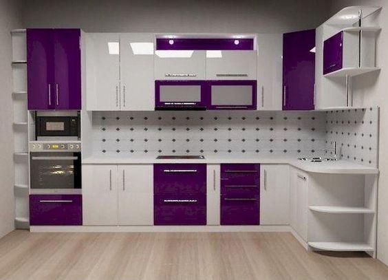 ألوان المطابخ الألوميتال 2020 - مطبخ بنفسجي