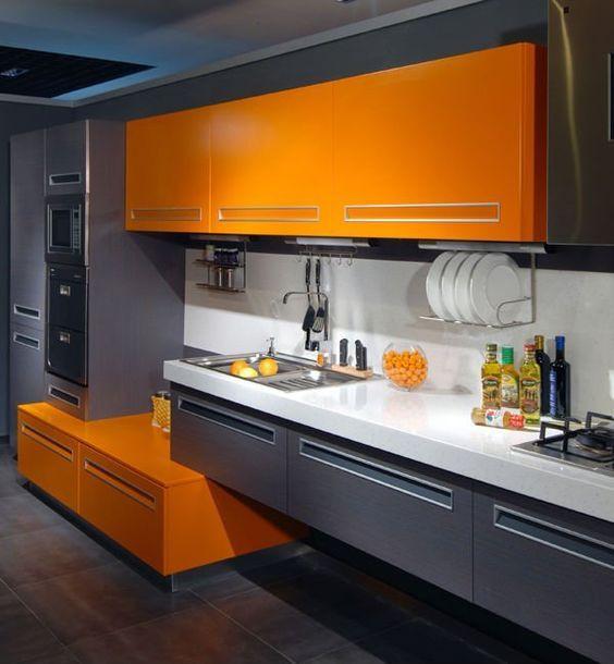ألوان المطابخ الألوميتال 2020 - مطبخ برتقالي