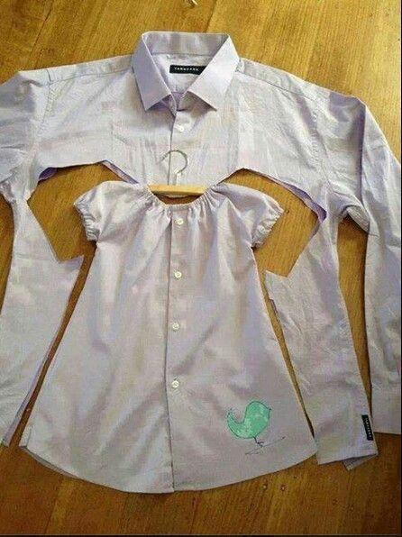 إعادة تدوير الملابس القديمة - خياطة فستان طفلة من قميص قديم