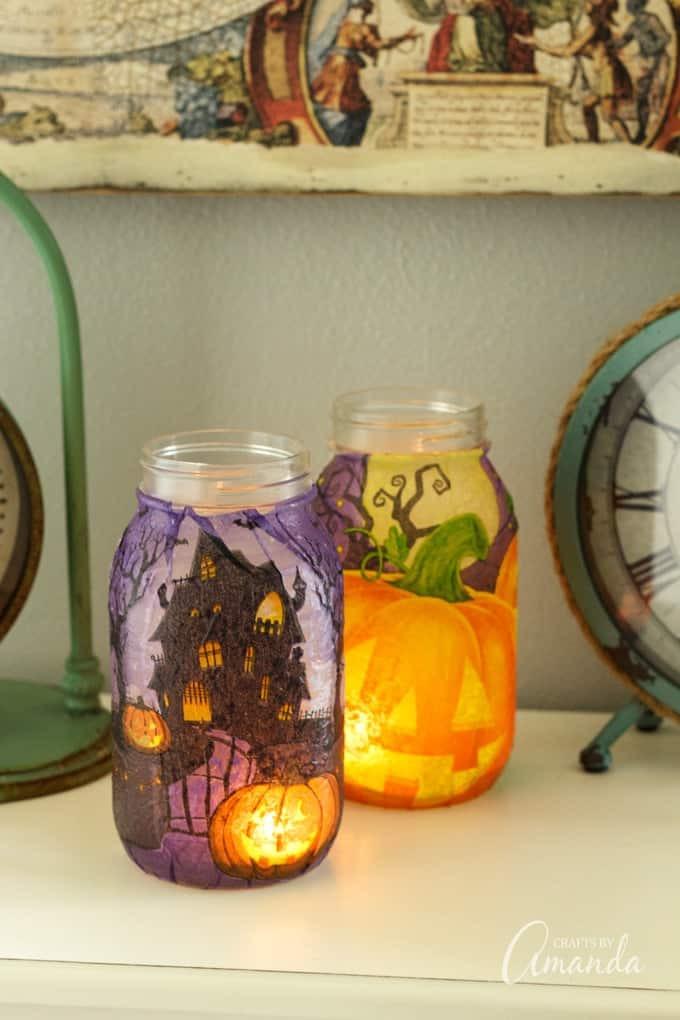 أشغال يدوية لتزيين المنزل - إعادة استخدام البرطمانات القديمة لصنع مصابيح مزخرفة