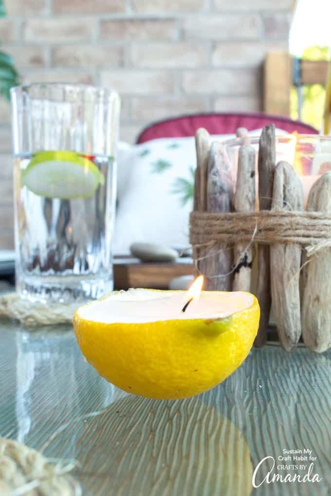 أشغال يدوية لتزيين المنزل - صنع حاملات شموع من قوالب الليمون المعصور