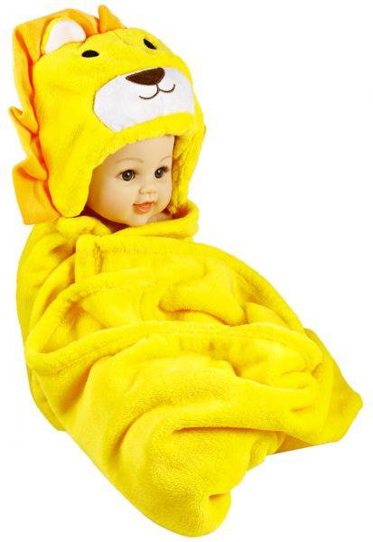بطانية أطفال حديثي الولادة - بطانية أطفال مع قبعة متصلة