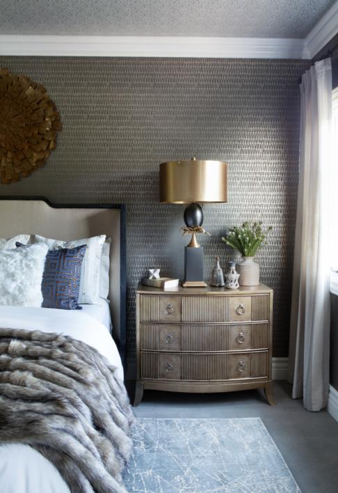 غرف نوم بدرجات الرمادي القاتم