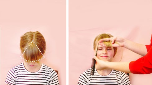 خطوات قص غرة الشعر للأطفال الصغار- تقسيم الشعر