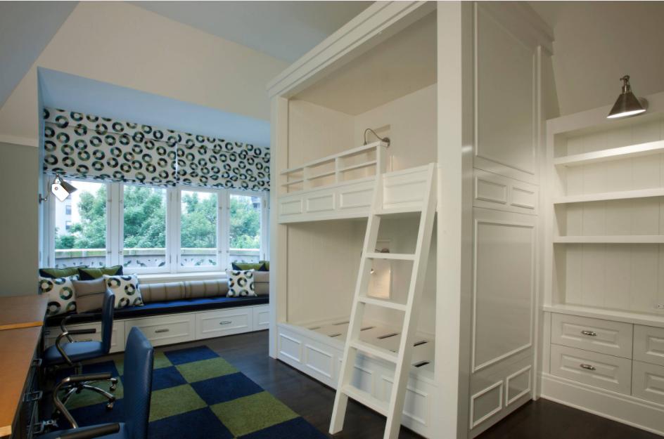 أشكال غرف نوم أطفال كلاسيك بسريرين-غرفة نوم باللون الأبيض