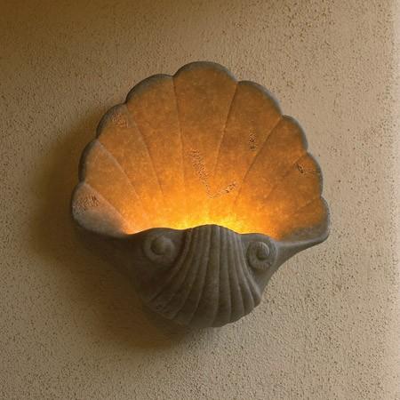 ديكورات إضاءة جدارية كلاسيك- شمعدان حائط بحري على شكل صدفة