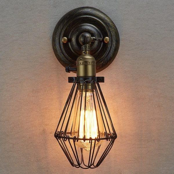 ديكورات إضاءة جدارية كلاسيك- شمعدان حائط على الطراز الصناعي مع مفتاح التبديل