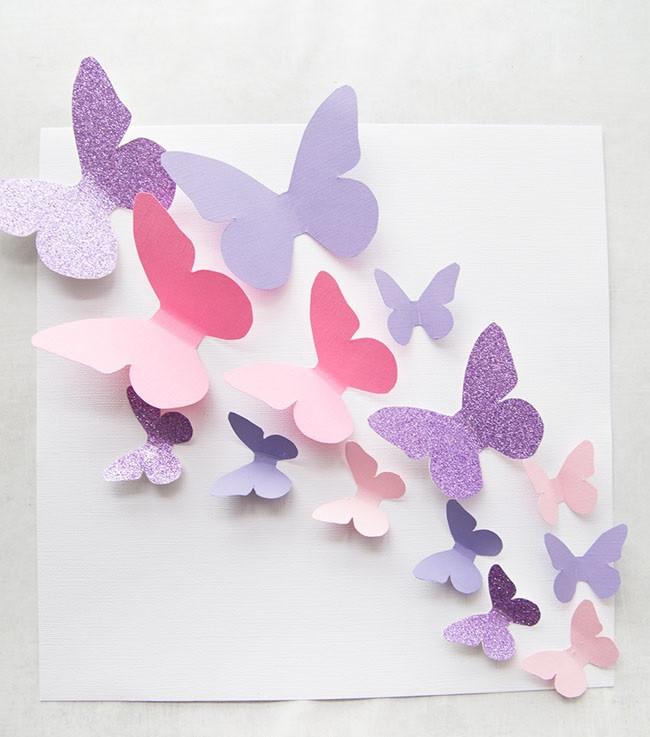 تزيين غرف الأطفال بالأعمال اليدوية - فراشات من الورق الملون