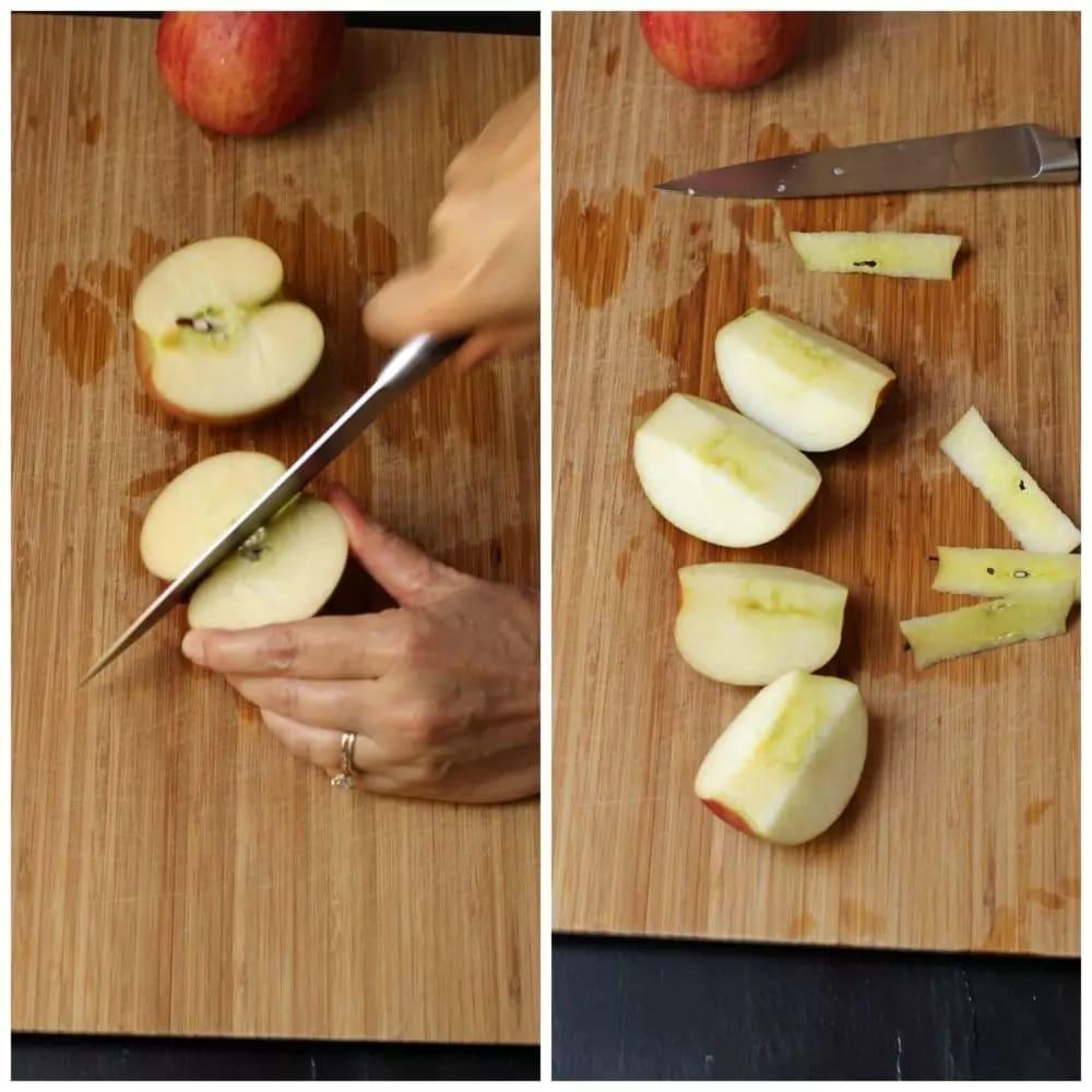 طريقة تقطيع التفاح- الطريقة الأولى