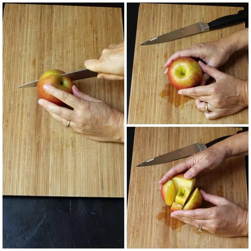 طريقة تقطيع التفاح- الطريقة الثانية