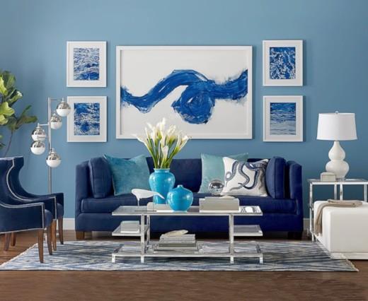 أحدث ألوان الأنتريهات 2020 - الأزرق في غرفة المعيشة