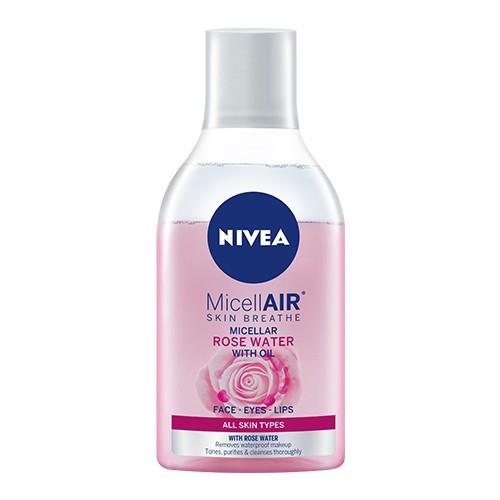 تنظيف البشرة الجافة-ماء مسيلار نيفيا بزيت الورد