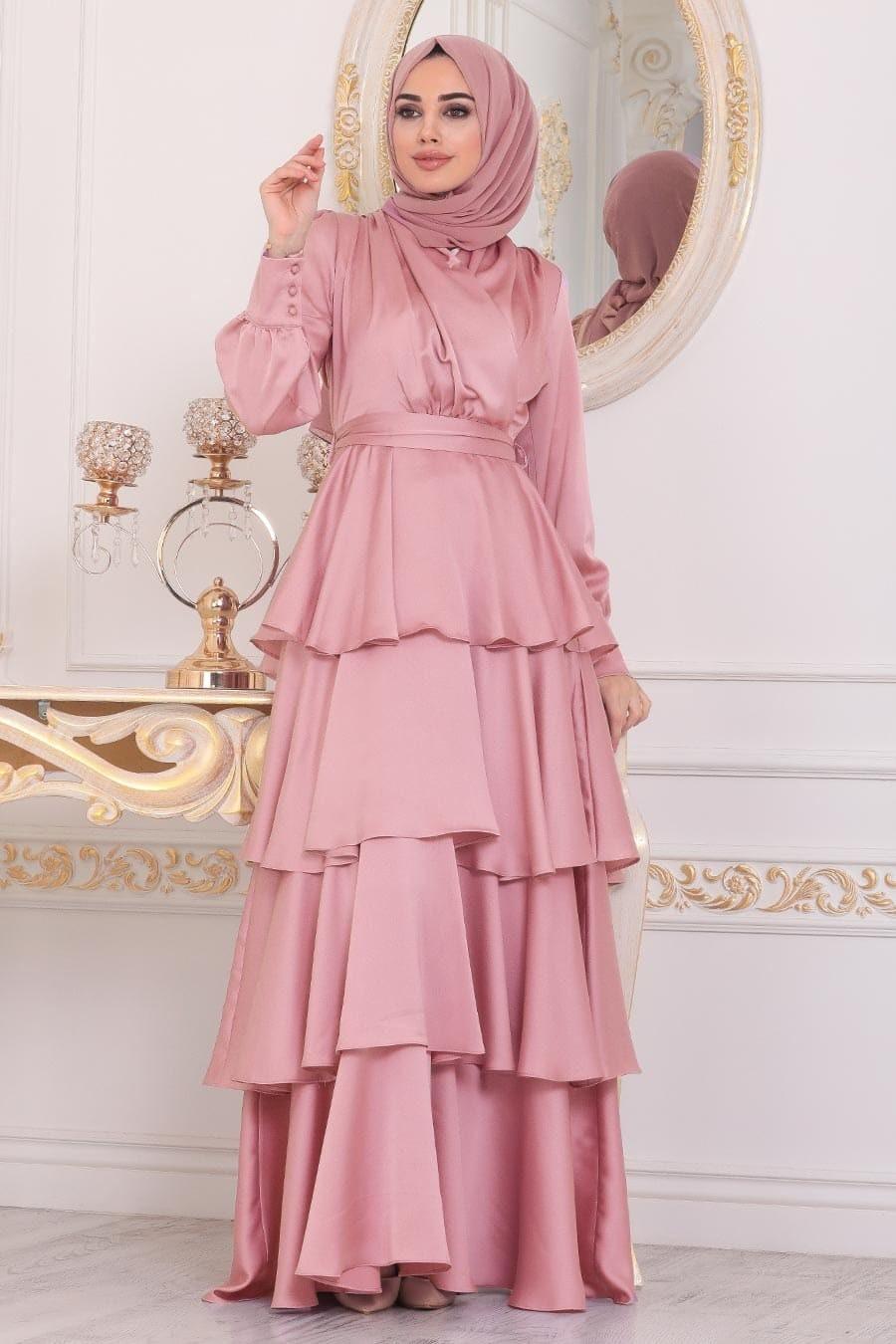 فساتين سواريه للجسم الممتلئ للمحجبات- الفساتين الطبقات