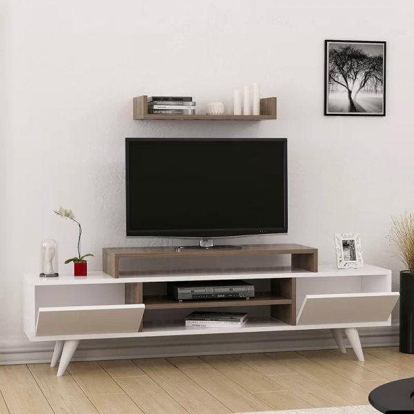 طاولات تلفزيون 2020- طاولة تلفاز برف منفصل