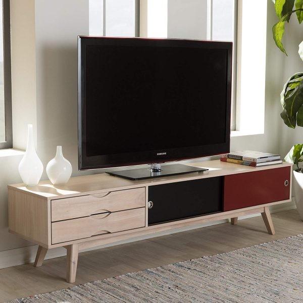 طاولات تلفزيون 2020- طاولة خشبية بتصميم عصري
