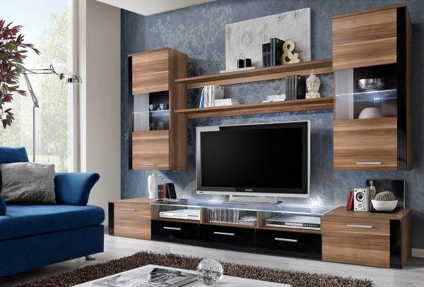 طاولات تلفزيون 2020- طاولة خشبية بوحدات تخزين